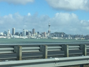 Skyline view of Auckland from the bridge