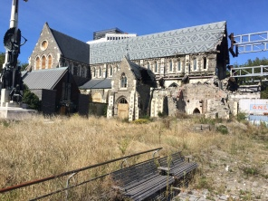 Christchurch Cathedral shows a lot of damage from prior earthquakes